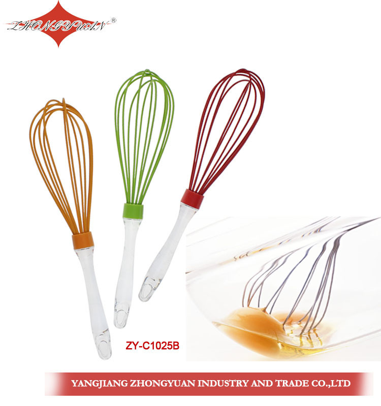 ZY-C1025B 11.5-inch silicone coated wires egg whisk with transparent plastic handle