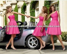 2012 lovely hot pink strapless ruched chiffon knee length custom-made bridesmaid dress CWFab4004