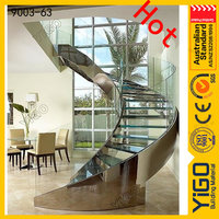 stainless steel curved stairs / solid wood steps round staircase design