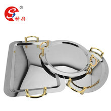 stainless steel round mirror serving tray with handle and legs