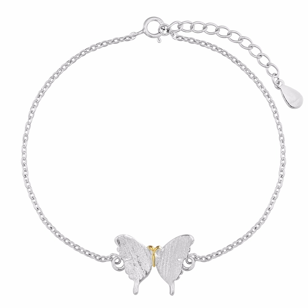 Elegant Butterfly Charm Bracelet Women 925-Sterling-Silver Vintage Nice Gift Bangles For Girls Friendshipelets Women <strong>Accessories</strong>
