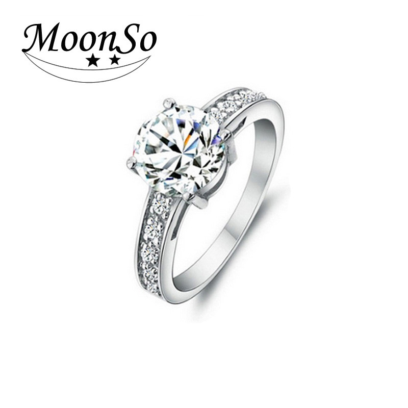 MOONSO jewelry 2015 round cut engagement rings beautiful diamond rings KR743S