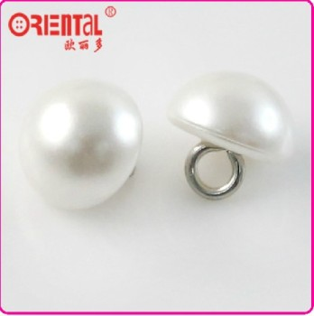 Shiny white dome shape metal shank pearl button