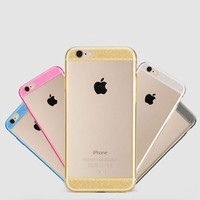 Wholesale Checkout Glitter Acrylic TPU Frame Clear Hard Back Case For iPhone 4/4s