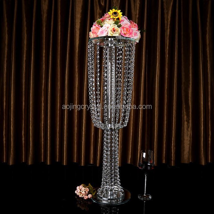 Latest arrival custom design hanging crystal flower stand for wedding table decoration with good prices