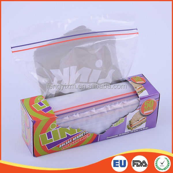Food grade different color seal double zip lock bag