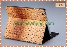 Hot selling ostrich grain leather case with sleeping function for ipad2/3/4