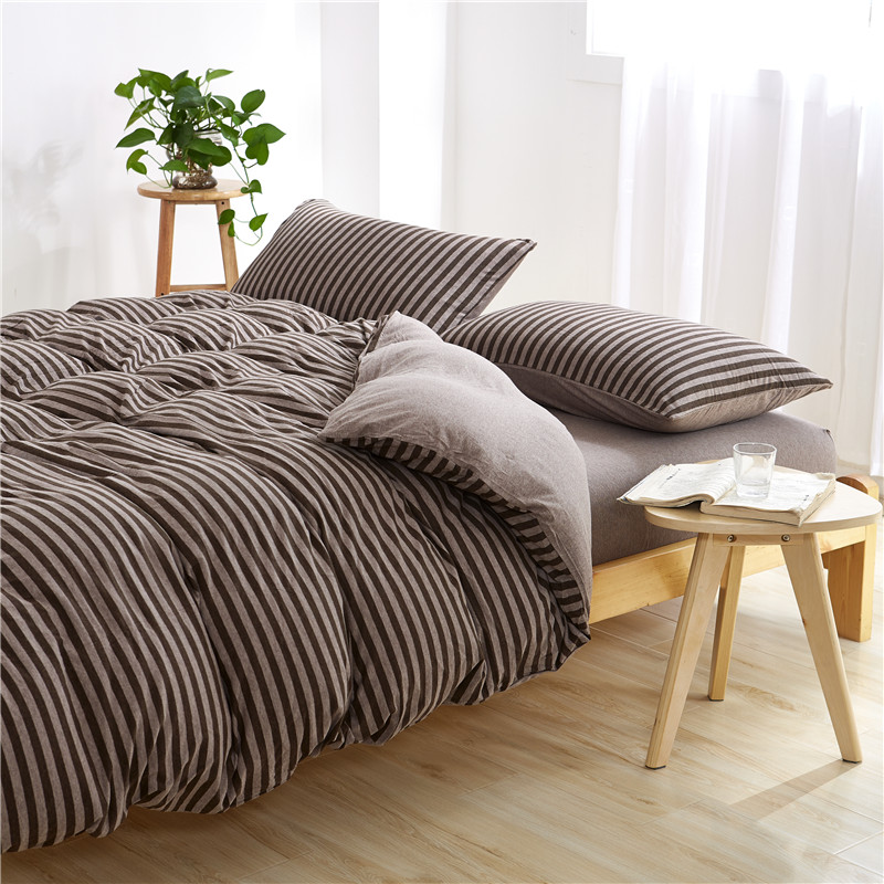 Knitted Japan Muji Bedding set sheet quilt duvet cover Stripe Streak dark coffee brown