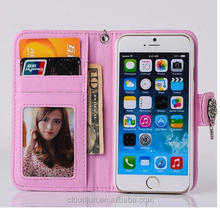 Wholesale Detachable Wallet Leather Case For Iphone 5 6 Flip Cover ,for samsung galaxy S6