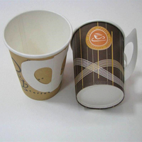 High quality disposable 7oz single wall hot drink coffee paper cups with handle