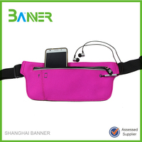 Adjustable portable zipper belt bag neoprene running waist belt phone