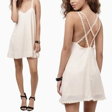 New Lady Women Sexy Casual Backless Fancy Chiffon Cheap Plain White Dresses Sv019549