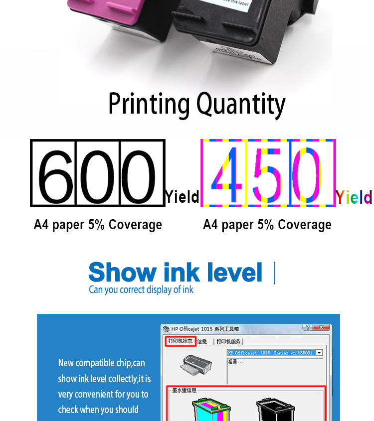 Supricolor Test one by one Printer ink cartridge replacement 680XL F6V27AA/F6V26AA for HP 680 ink cartridges