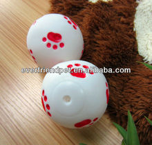 pet product guangzhou--Everfriend 9.1cm white vinyl ball with red paw print