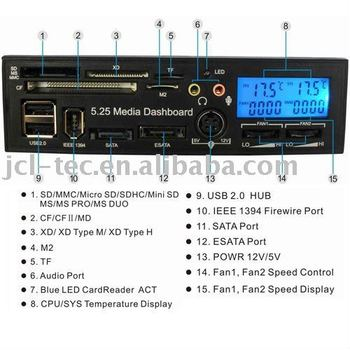5.25 LCD Display Media Dashboard Internal card reader with USB HUB ESATA SATA 1394 port two fan controls