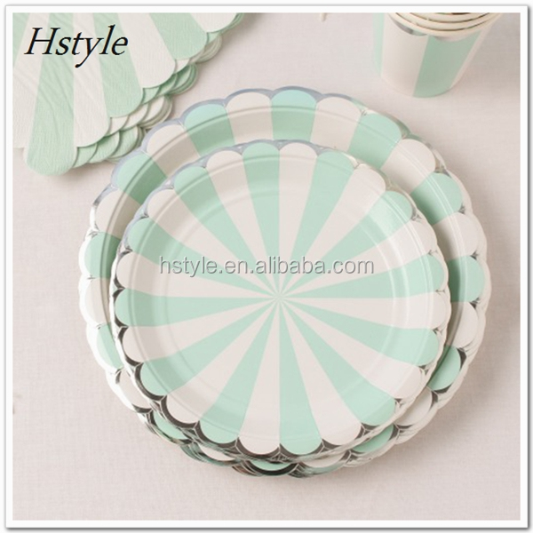 Eco-Friendly Party Tableware Foil Gold Scallop Paper Plates For Birthday/Xmas/Baby Shower/Wedding PP227