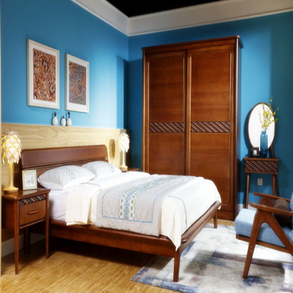 Antique Solid Wood Bedroom Furniture Modern and Simple Pictures of Wood Double Bed