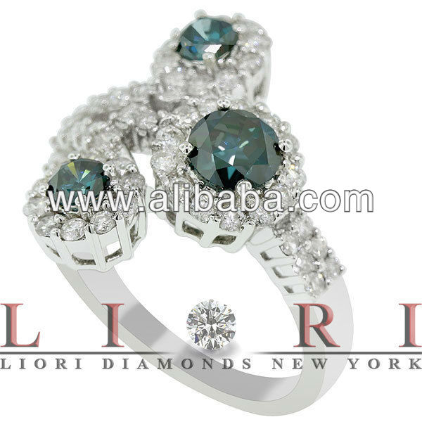 2.00 CARAT FANCY BLUE & WHITE DIAMOND COCKTAIL RING 18K WHITE GOLD