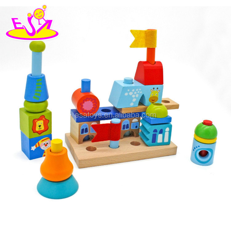 Educational children creative city buildings wooden toys building blocks for kids W13A139
