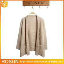 Ladies beige color chunky cable knitting pattern cardigan sweater