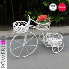Metal 3 pots (White) Tricycle Bike Flower Basket Stand Suitable for Home Garden Decoration,