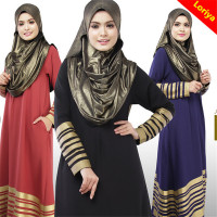 Slim Fit Ladies Long Sleeve Black Islam Evening Dress In Stock