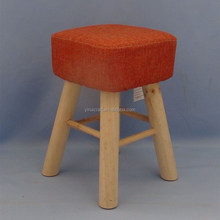 household wooden stool pine wood legs with cushion and fabric