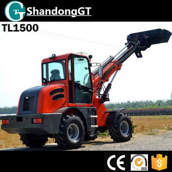 Chinese Famous Brand GT New Farming agricultural equipment 4 wheels drive telescopic wheel loader TL1500
