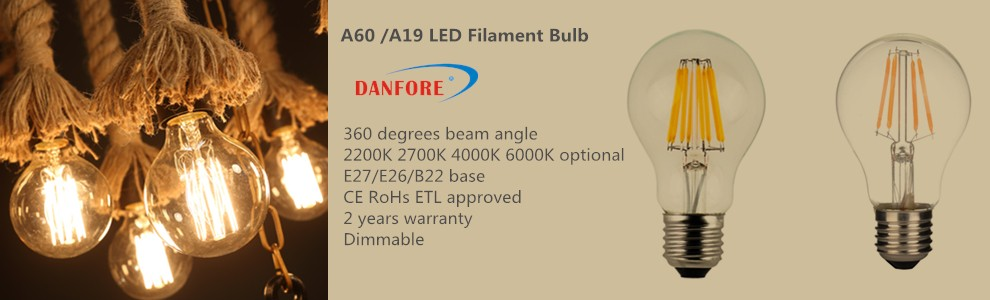 4W 6W 8W A19 B22 E27 ETL UL led filament bulb dimmable