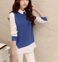 W30391H 2015 ladies' knitted twin set pullover sweaters women sweaters