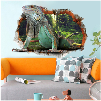 Removeable PVC vinyl wall sticker 3D lizard window wallpaper