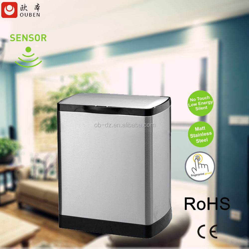 stainless steel automatic electronic sensor garbage can/ recycling can/ waste bin 25L