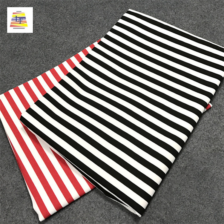 Wholesale Cheap cotton lycra single jersey with stripe design 100% Cotton Stripes Fabric