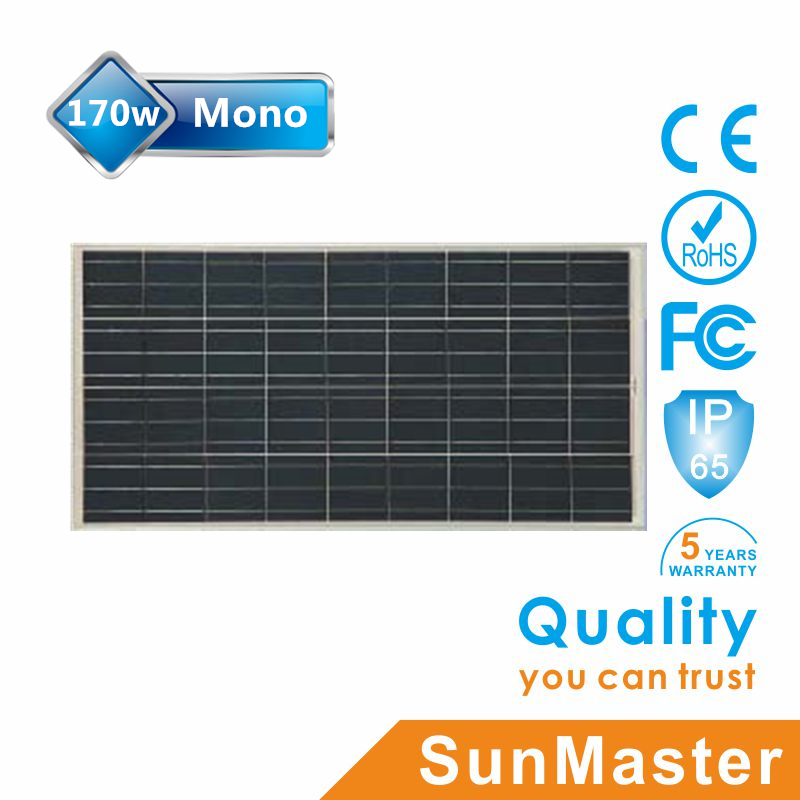 TUV UL IEC certified mono solar module 170w from China manufacturer
