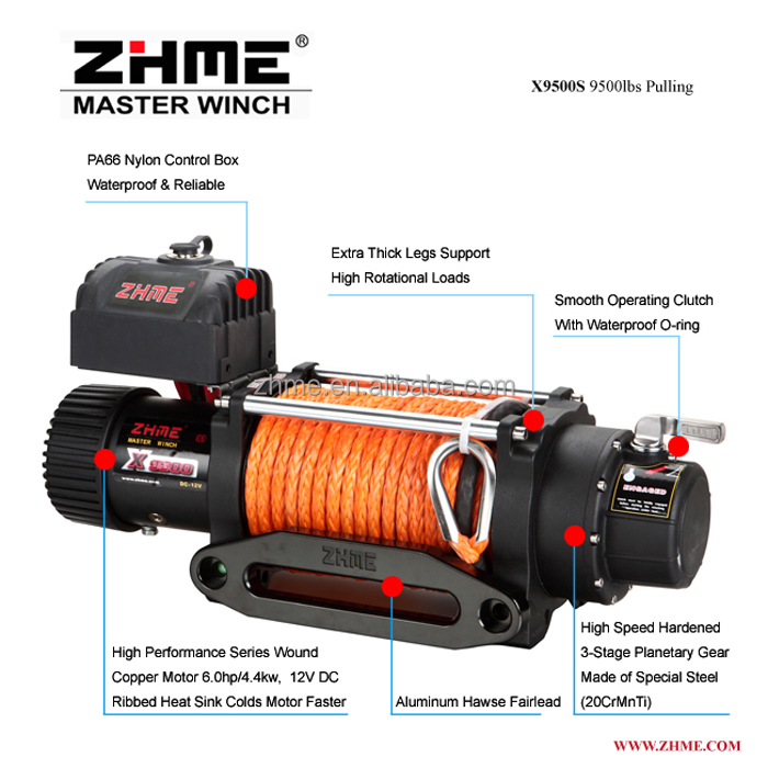 12v 9500lbs Winch with synthetic rope