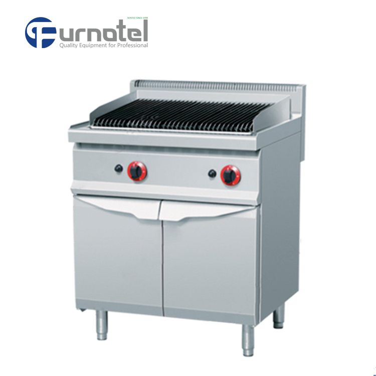 Commercial Kitchen Equipment 700 Series Gas Lava Rock Grill With Cabinet