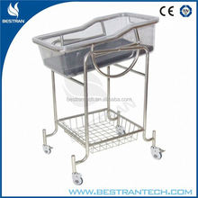 BT-AB108 stainless steel medical baby bassinet cradle