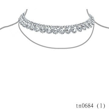 2015 Yiwu Costume Jewleries For Women Silver Plated Statement Clear Crystal Art Deco Style Bridal Choker Necklace Wholesale