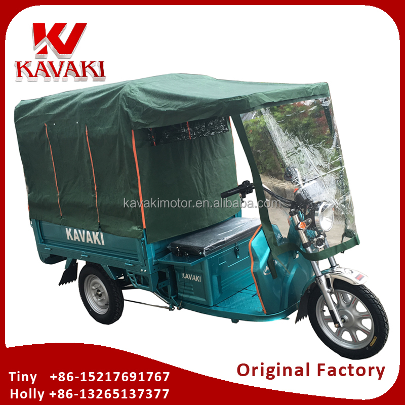 Adult Closed Cabin 3 Wheel Mini Electric Tricycle For Cargo Transportation With Rear Waterproof Canvas