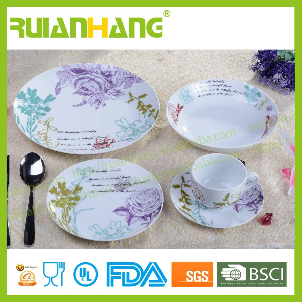 Round circle england porcelain tableware set for hotel