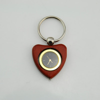 2017 Fashion top sell wood heart shape Keychain clock for promotion