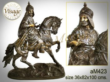 Bronze Arabian warrior on horse Sculpture