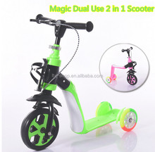 Magic New Arrival Kids Multifunctional Foot Scooter 3 Wheel Dual Use Sit Down/Ride On Scooter For Wholesale