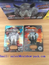 Rhino 3D Blister Paper Packaging Card for Sex Pill Bottle with Aluminum Foil Cap