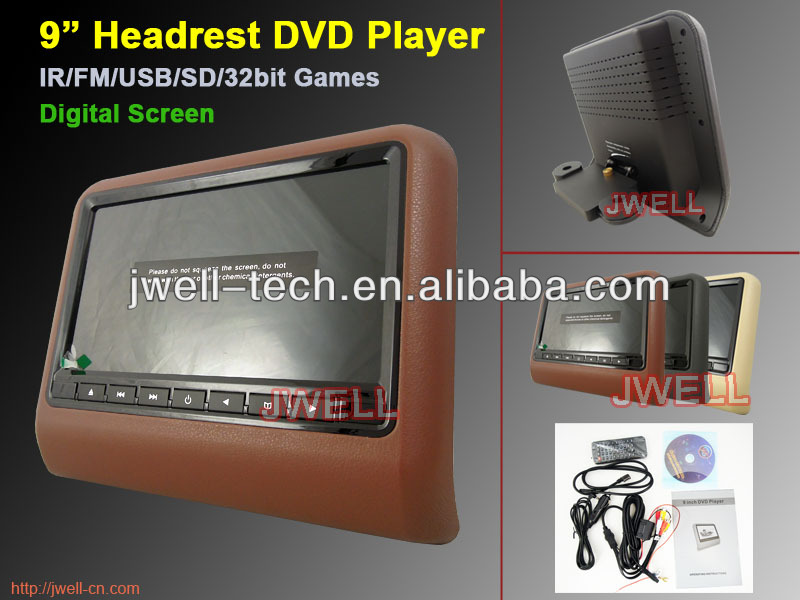 "New Hot 9"" Car DVD Headrest with mp5, usb/sd, games"