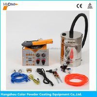 Hopper feed powder paint spraying gun equipment
