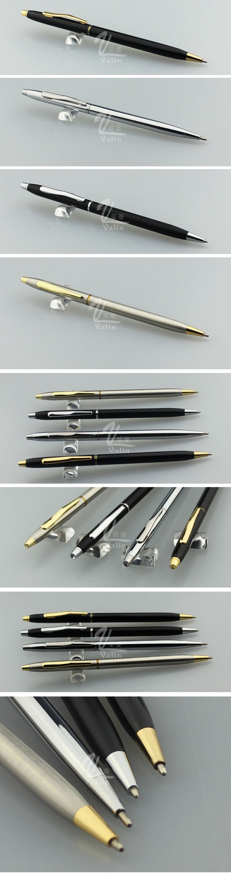 All silver metal ballpoint pen silm and high quality copper thin ball pen customize logo