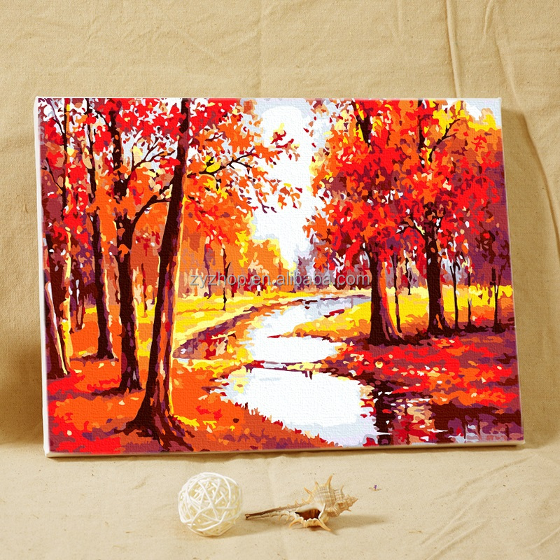Free mind free painting colorful canvas painting tree and river landscape oil painting toy for kids