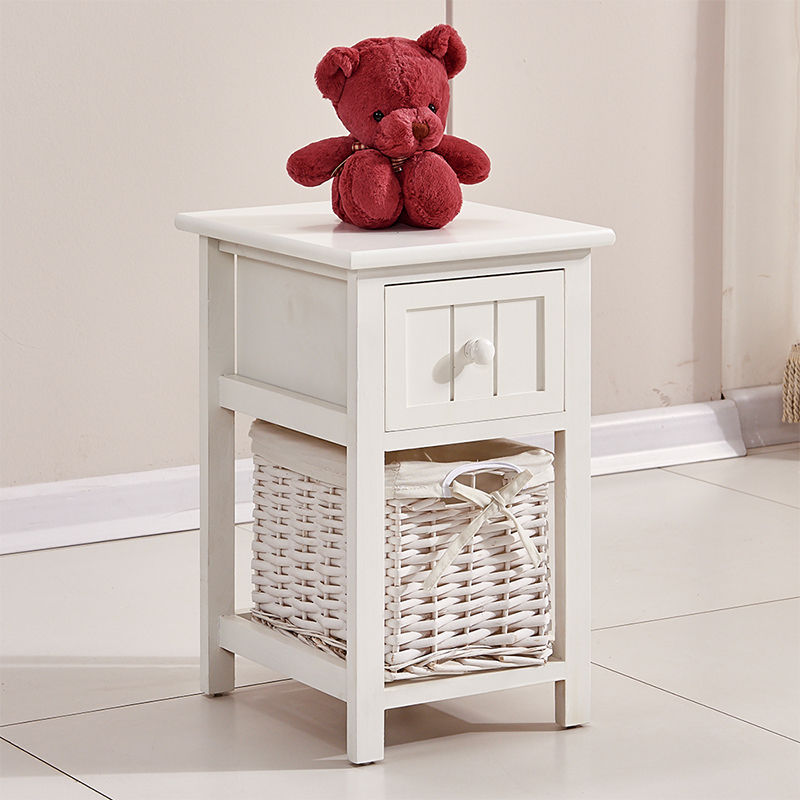 New White Bedside Table Cabinet with Chest of Drawers & Wicker Storage Basket