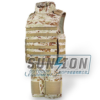 Reinforced Type Ballistic Vest can be with removable arm, groin, hip, etc these partial body protection
